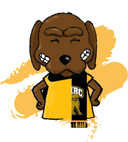 True Grit Mascot wearing scarf traditionally around neck